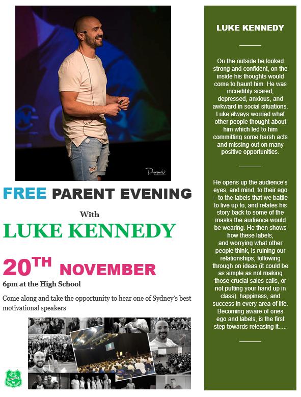 Free Parent Evening with Luke Kennedy - Mullaley Public School